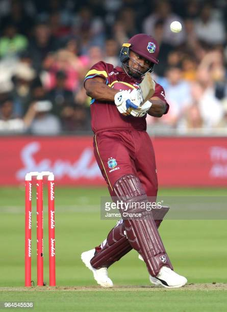 Evin Lewis of West Indies bats during the Hurricane Relief T20 match between the ICC World XI and West Indies at Lord's Cricket Ground on May 31,...