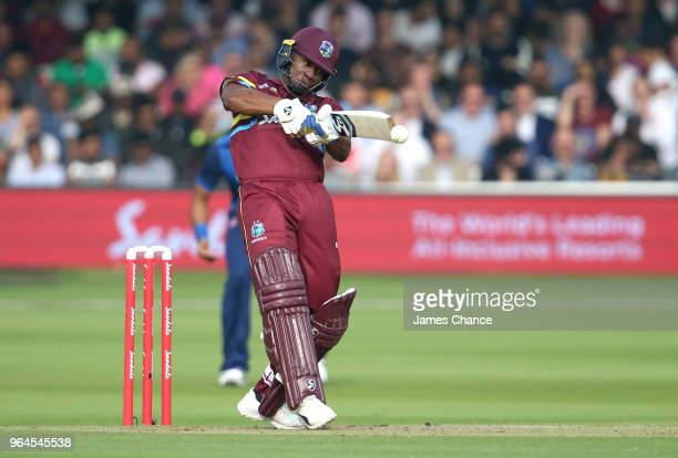 Evin Lewis of West Indies bats during the Hurricane Relief T20 match between the ICC World XI and West Indies at Lord's Cricket Ground on May 31 2018...