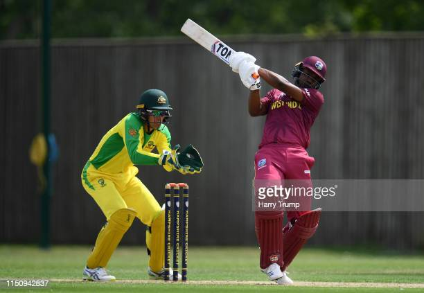 Evin Lewis of West Indies bats during the One Day International match between Australia and West Indies at the Ageas Bowl on May 22, 2019 in...