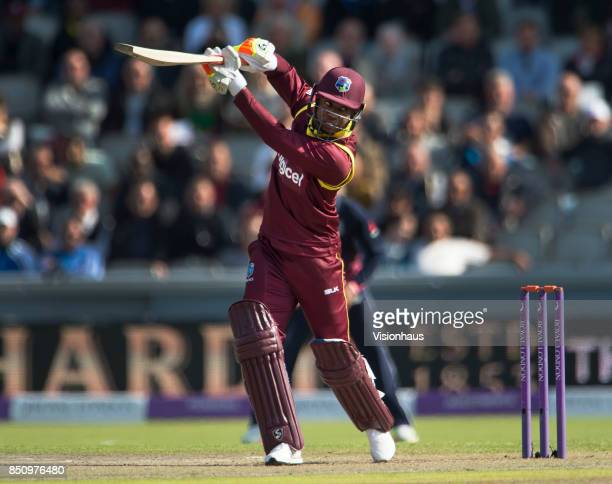 Evin Lewis of West Indies batting during the Royal London One Day International between England and the West Indies at Old Trafford on September 19...