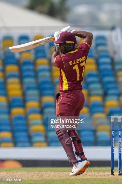 Evin Lewis of West Indies hits 4 during the 3rd and final ODI between West Indies and Australia at Kensington Oval, Bridgetown, Barbados, on July 26,...