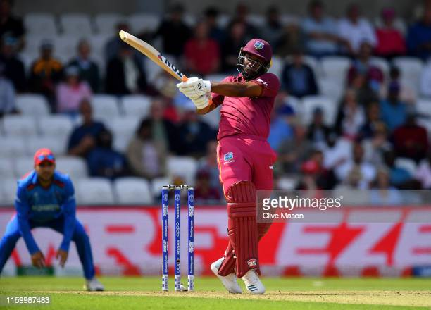 Evin Lewis of West Indies in action batting during the Group Stage match of the ICC Cricket World Cup 2019 between Afghanistan and West Indies at...