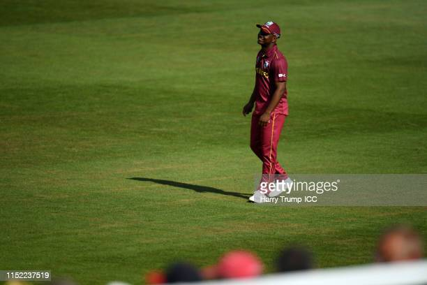 Evin Lewis of West Indies looks on during the ICC Cricket World Cup 2019 Warm Up match between West Indies and New Zealand at Bristol County Ground...