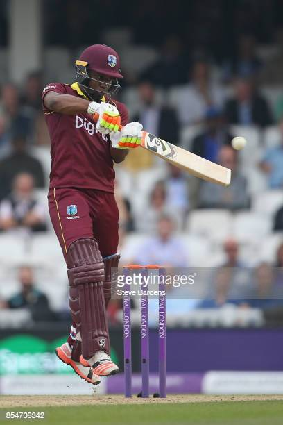 Evin Lewis of West Indies plays a shot during the 4th Royal London One Day International between England and West Indies at The Kia Oval on September...