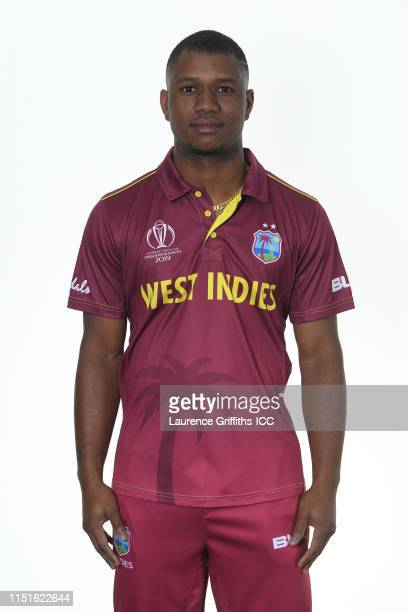 Evin Lewis of West Indies poses for a portrait prior to the ICC Cricket World Cup 2019 at The Radisson Blu Hotel on May 25, 2019 in Bristol, England.