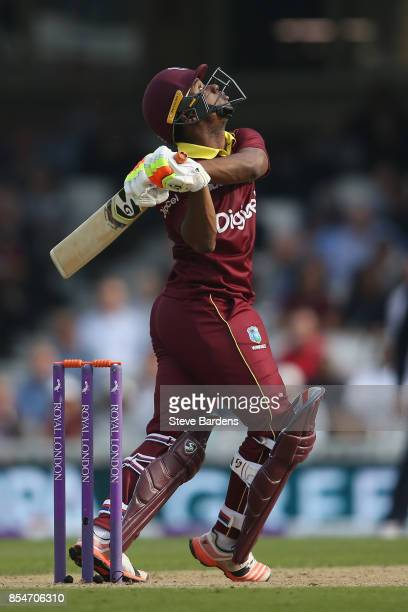 Evin Lewis of West Indies skies a shot during the 4th Royal London One Day International between England and West Indies at The Kia Oval on September...