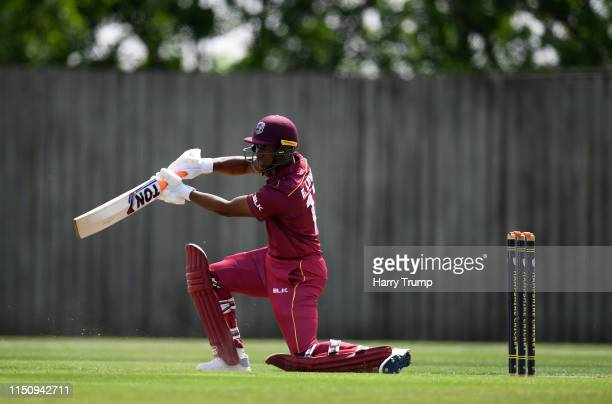 Evin Lewis pf West Indies bats during the One Day International match between Australia and West Indies at the Ageas Bowl on May 22, 2019 in...