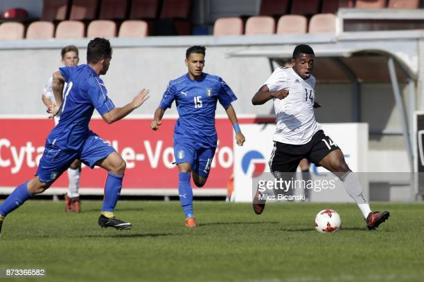 Evina Franck of Germany in action againstRizzo Pinna Andrea of Italy during the Germany vs Italy U18 friendly match at Ammochostos Stadium at Larnaca...