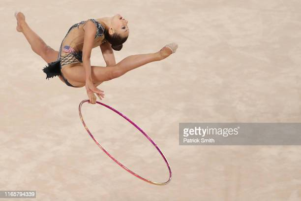 Evita Griskenas of the United States competes during rhythmic gymnastics Individual All Around and Qualifications Hoop on Day 7 of Lima 2019 Pan...
