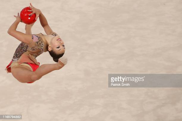 Evita Griskenas of the United States competes during rhythmic gymnastics Individual All Around and Qualifications Ball on Day 7 of Lima 2019 Pan...