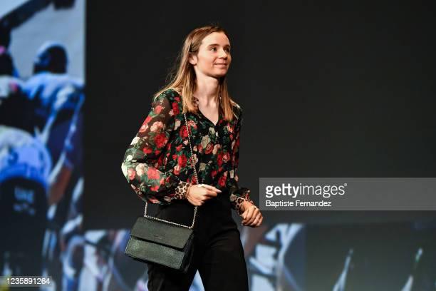 Evita MUZIC during the presentation of the Tour de France 2022 at Palais des Congres on October 14, 2021 in Paris, France.