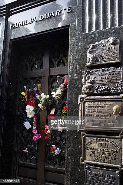 evita peron mausoleum at the recoletas cemetery in buenos aires - eva peron stock photos and pictures