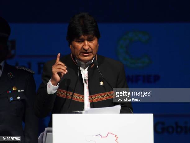 Evo Morales President of Bolivia giving a lecture in the framework of the VIII Summit of the Americas The event takes place on April 13rd and 14th...