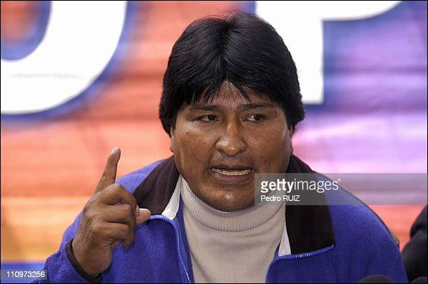 Evo Morales President of Bolivia with his Vicepresident Alvaro Garcia Linera at his first conference in La Paz Bolivia on December 20th 2005