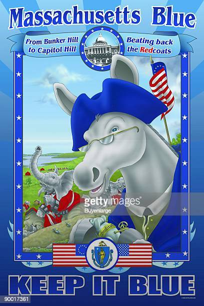 Evoking the American Revolution Blue the Donkey wears his continental garb while the elephant in the background wears a British Lobsterback Uniform...