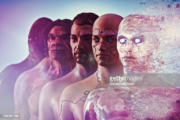 evolution of human to cyborg - monkey man stock pictures, royalty-free photos & images