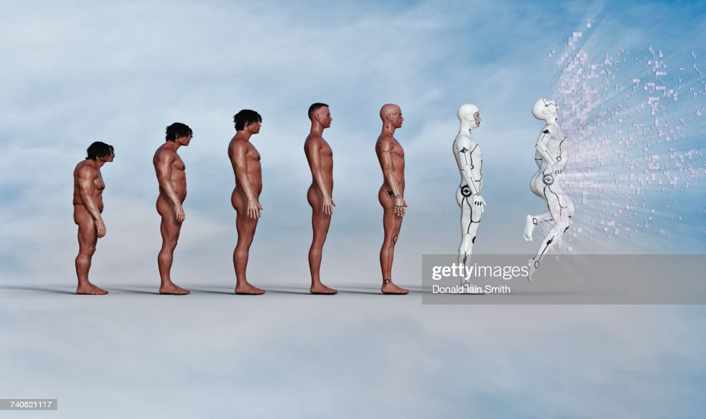 Evolution of man from caveman to exploding robot : Stock Photo