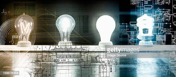 evolution of the light bulb - from thomas edison to energy saving bulb - thomas edison stock pictures, royalty-free photos & images