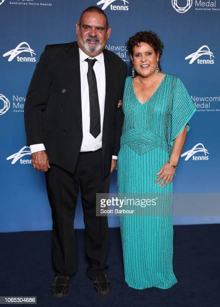 Evonne Goolagong Cawley and her brother Ian Goolagong pose ahead of the Newcombe Medal at Crown Entertainment Complex on November 26 2018 in...