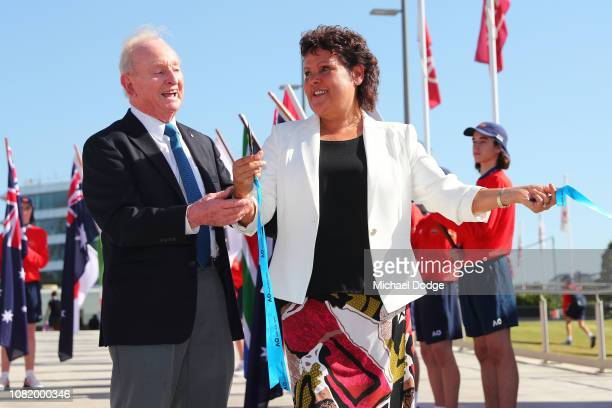 Evonne Goolagong Cawley and Rod Laver attend the Australian Open trophy arrival and Welcome to Country ceremony on day one of the 2019 Australian...