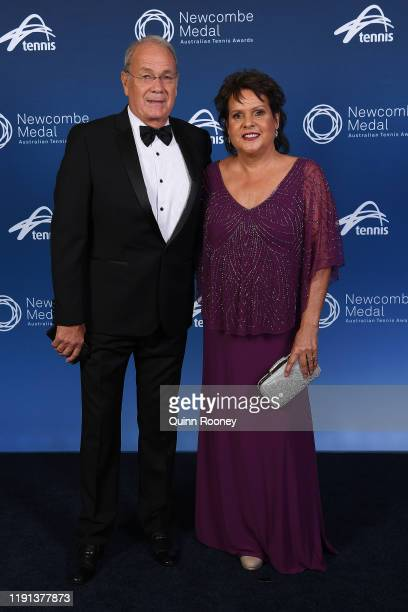Evonne Goolagong Cawley and Roger Cawley arrive for the 2019 Newcombe Medal at Crown Palladium on December 02 2019 in Melbourne Australia