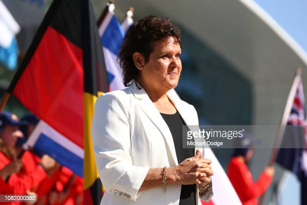 Evonne Goolagong Cawley attends the Australian Open trophy arrival and Welcome to Country ceremony on day one of the 2019 Australian Open at...