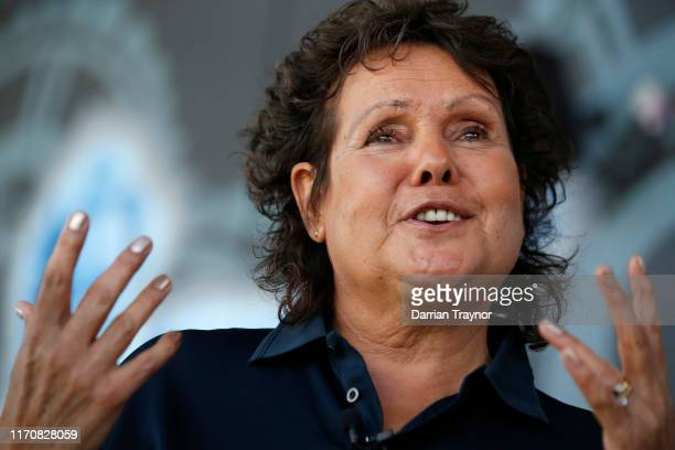 Evonne Goolagong Cawley speaks to the media ahead of the National Indigenous Tennis Carnival at the Darwin International Tennis Centre on August 29...
