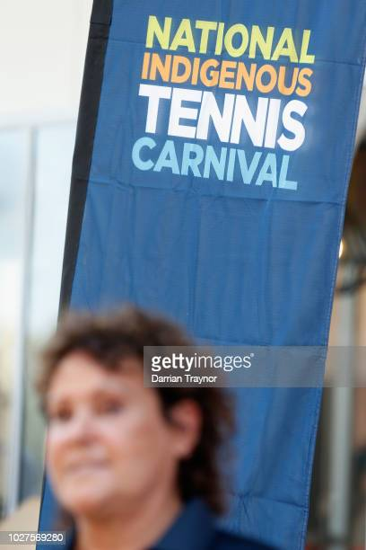 Evonne Goolagong Cawley speaks to the media on day 1 of the National Indigenous Tennis Carnival at Darwin International Tennis Centre on September 6...