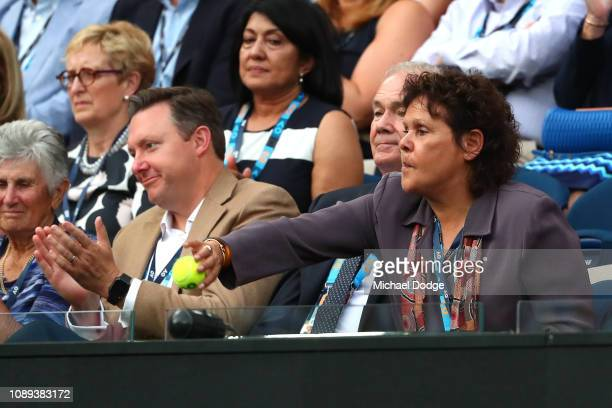 Evonne Goolagong Cawley throws the ball back into play during Women's Singles Final match between Petra Kvitova of the Czech Republic and Naomi Osaka...