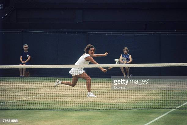 Evonne Goolagong competing against fellow Australian and defending champion Margaret Court in the Ladies' Singles Final at Wimbledon 2nd July 1971...