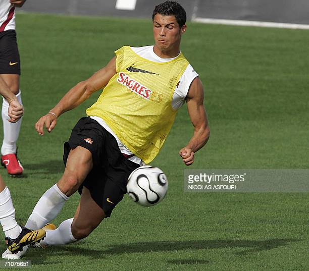 Portugal's football player Cristiano Ronaldo trains during the Portuguese football team training session for the FIFA World Cup 2006 in Evora 100 km...