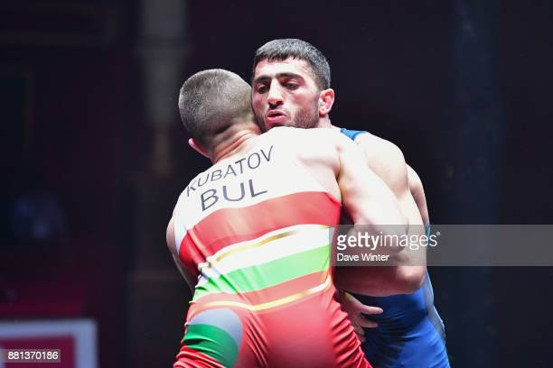 Evrik Nikoghosyan of France and Stoyan Kubatov of Bulgaria during the International wrestling test match between France and Bulgaria at Le Cirque...