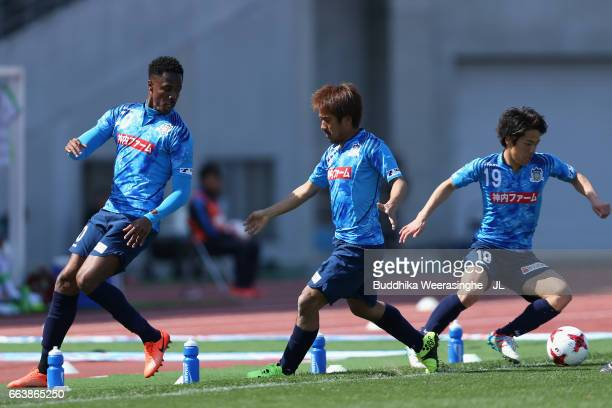 Evson Kazumasa Takagi and Hayato Nakama of Kamatamare Sanuki in action during the JLeague J2 match between Kamatamare Sanuki and Shonan Bellmare at...