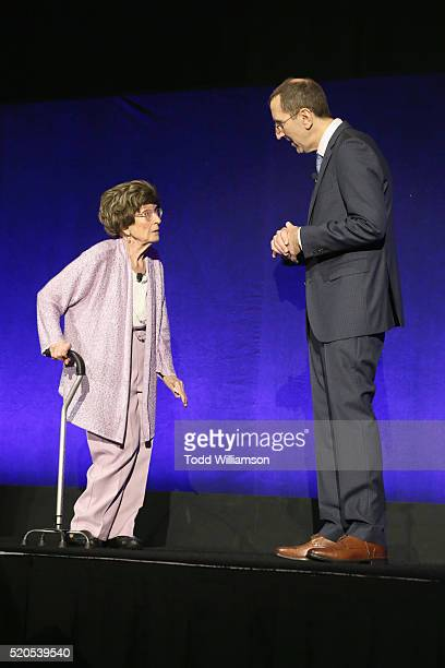 Evylena Shubarth and NATO Managing Director Mitch Neuhauser speak onstage during the CinemaCon 2016 Gala Opening Night Event: Paramount Pictures...