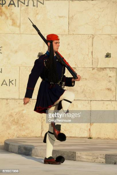 Evzone (Parliament House guard) marching before the Tomb of the Unknown Soldier during the Changing of the Guard ceremony.