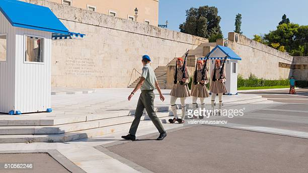 Evzone soldiers in front Parliament of Athens