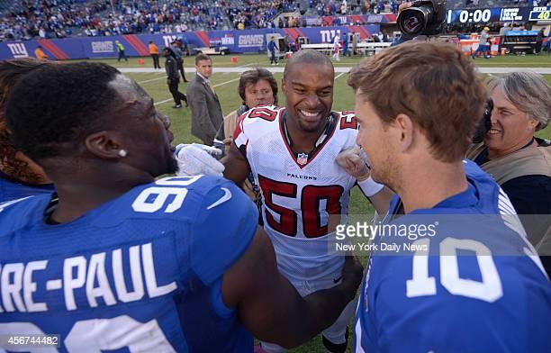 ew York Giants vs Atlanta Falcons at MetLife Stadium East Rutherford NJ Atlanta Falcons defensive end Osi Umenyiora with New York Giants defensive...