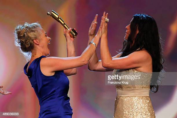 Ewa Karlstroem and Katja von Garnier attend the Lola German Film Award 2014 at Tempodrom on May 09 2014 in Berlin Germany