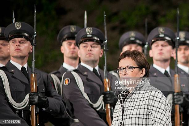 Ewa Kopacz Prime Minister of Poland attends the 70th anniversary celebration of the end of the Second World War on May 8 2015 at Westerplatte in...