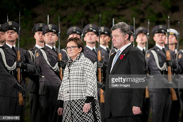 Ewa Kopacz Prime Minister of Poland Petro Poroshenko attend the 70th anniversary celebration of the end of the Second World War on May 8 2015 at...