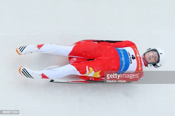 Ewa Kuls-Kusyk of Poland completes her first run in the Women's competition of the Viessmann FIL Luge World Cup at Lake Placid Olympic Center on...