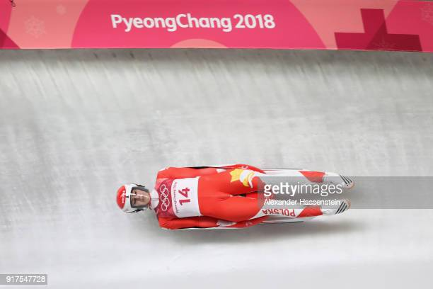 Ewa Kuls-Kusyk of Poland slides during the Women's Singles Luge run 1 at Olympic Sliding Centre on February 12, 2018 in Pyeongchang-gun, South Korea.