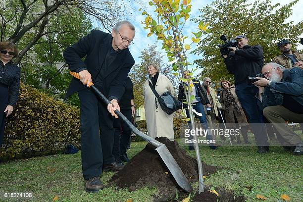 Ewa Lipska Bronislaw Maj Urszula Koziol and other guests attend the ceremony of planting Wislawa Szymborskaâs acacia on October 24 2016 near Dworek...