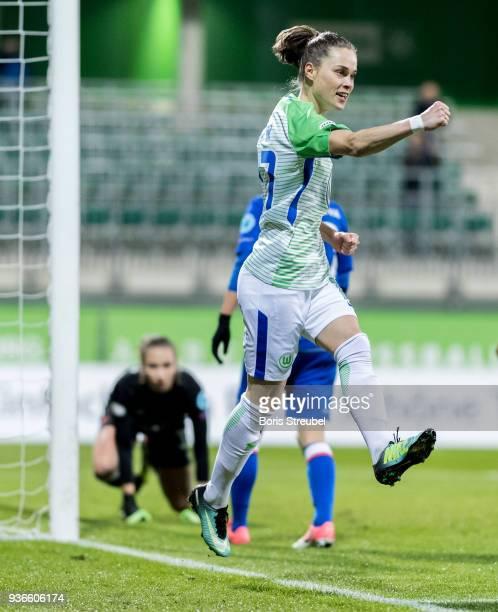 Ewa Pajor of VfL Wolfsburg celebrates after scoring her team's fifth goal during the UEFA Women's Champions League Quarter Final first leg match...