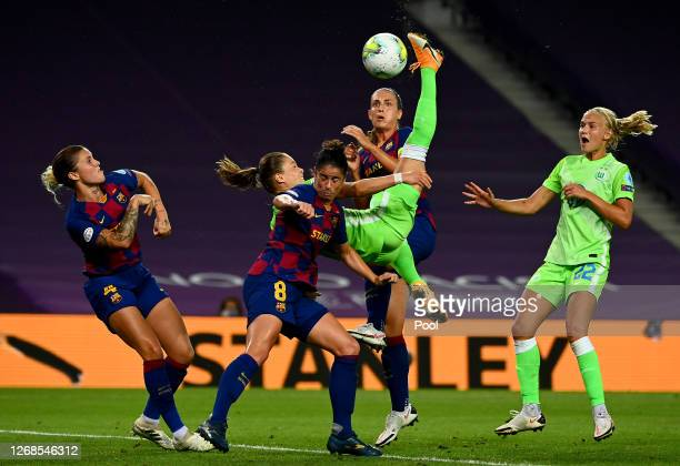 Ewa Pajor of Vfl Wolfsburg performs an overhead kick in the box during the UEFA Women's Champions League Semi Final between VfL Wolfsburg and FC...