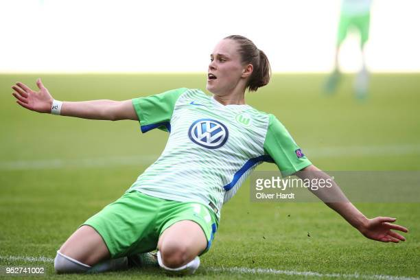 Ewa Pajor of Wolfsburg celebrate after her first goal during the Women's UEFA Champions League semi final second leg match between VfL Wolfsburg and...