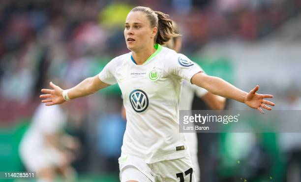 Ewa Pajor of Wolfsburg celebrates aafter scoring her teams first goal during the Women's DFB Cup final match between VfL Wolfsburg and SC Freiburg at...