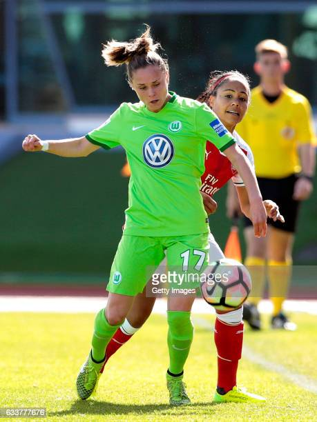 Ewa Pajor of Wolfsburg challenges Alex Scott of Arsenal during the Women's Friendly Match between VfL Wolfsburg Women's and Arsenal FC Women on...