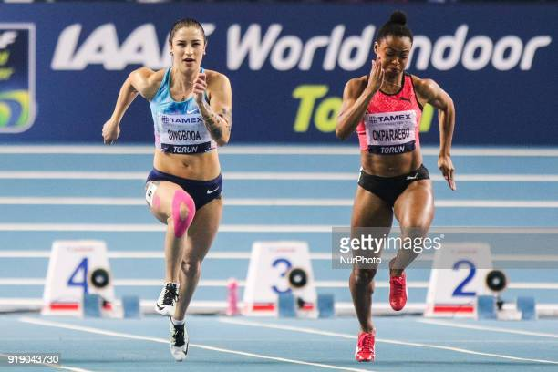 Ewa Swoboda and Ezinne Okparaebo running the 60 metres during Copernicus CUP IAAF World Indoor Tour at Torun Poland on 15 February 2018