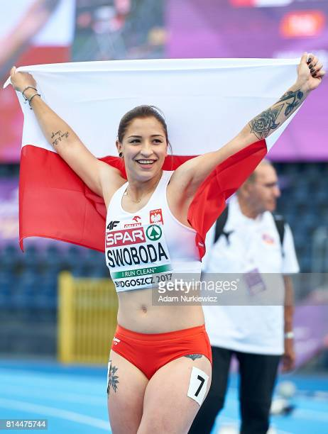 Ewa Swoboda from Poland celebrates his victory in women's 100m final during Day 2 of European Athletics U23 Championships 2017 at Zawisza Stadium on...